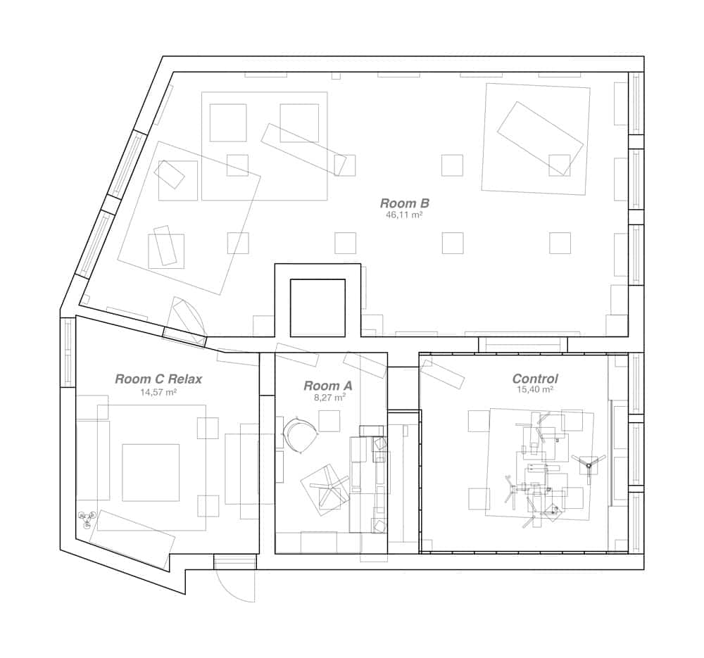 Plan of the Recording Studio 4 Rooms